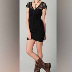 free people lace minidress bodycon black stretchy